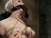 Hot Blond with PERFECT BODY, natural tits, severely bound, gagged with the addition of abusedAll on screen tying