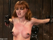 Super cute redhead, bound spread and brutally fucked by a machine!